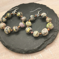 Handmade, beaded, hoop statement earrings