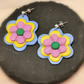 Handmade, Polymer Clay, 3D, Flower Earrings.