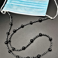 Black and Silver Beaded Face Mask Holder, Chain.