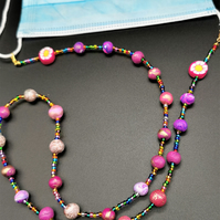Multi-Coloured, Beaded Face Mask Lanyard