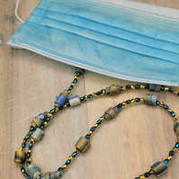 Handmade, Artisan, Beaded Face Mask Chain, Necklace.