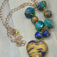 Unusual, Bohemian Heart Pendant Necklace in Blue and Gold