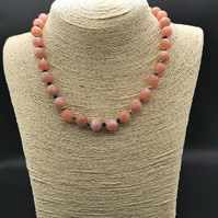 Handmade Peachy Shimmer Beaded Choker Necklace.