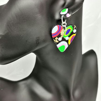 Vibrant, contemporary multicoloured heart earrings. Handmade, polymer clay.