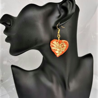 Attractive heart sharped, autumn leaf earrings with gold shimmer. Handmade.
