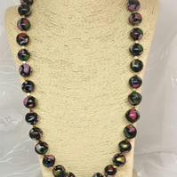 Unique, handmade, multi-coloured and black bead necklace.
