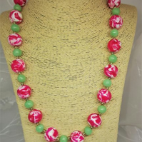 Funky beaded statement necklace, handmade in translucent polymer clay.