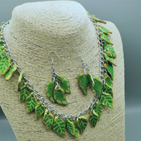 Handmade, Leaf Pendant Necklace and Earring Set.