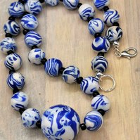 Handmade Blue and White Patterned Bead Choker Necklace
