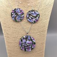 Handmade, Ripple Patterned, Pendant and Earrings Set