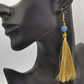 Handmade Blue and Gold Tassel Earrings