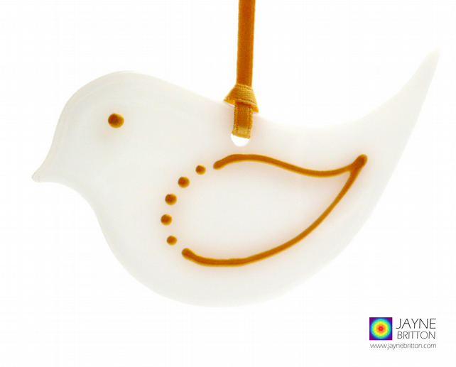 Fused glass bird, white and gold, hanging decoration (1044)