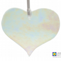 Iridescent clear fused glass heart light catcher, sparkly, heart (1041)