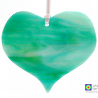 Misty landscape, green and white fused glass heart light catcher (1051)