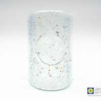 Triple Moon Goddess, Fused glass tealight screen, sparkling (595-bluish)