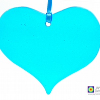 Turquoise blue fused glass heart light catcher, heart shaped, hanging (1028)