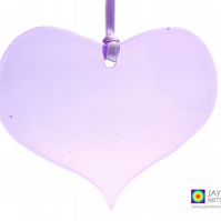 Violet purple fused glass heart light catcher, heart shaped, hanging (1030)