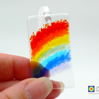 Mini Rainbow fused glass light catcher, suncatcher (967-dec)