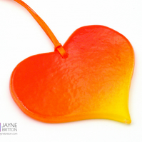 Sunrise fused glass heart light catcher, heart shaped, hanging decoration (1061)