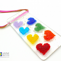 Fused glass hearts light catcher, rainbow suncatcher (367)