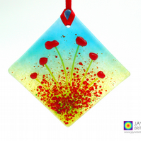 Poppy diamond, Red flowers light catcher, diamond shaped, hanging decor (1067)