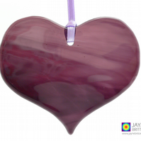 Deep purple fused glass heart light catcher, heart shaped, hanging (1060)