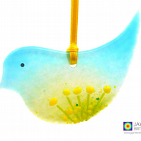 Fused glass bird, yellow flowers light catcher, hanging decoration (1013)