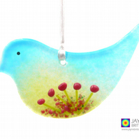 Fused glass bird, pink flowers light catcher, hanging decoration (1015)