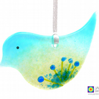 Fused glass bird, blue flowers light catcher, hanging decoration (1014)