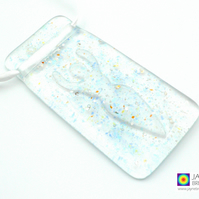 Goddess light catcher, sparkling blue and clear suncatcher, mica (579-clear)