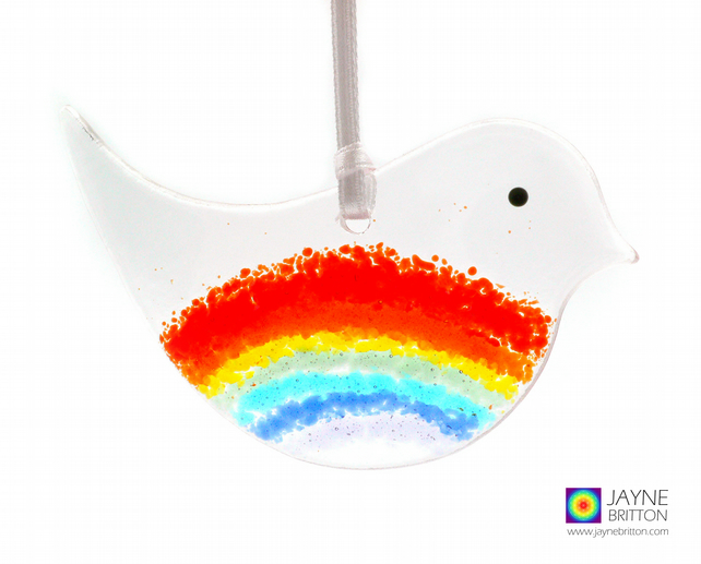 Fused glass rainbow bird, light catcher, tree decoration (1062)