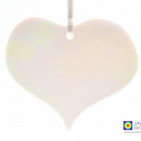 Iridescent white fused glass heart light catcher, sparkly, heart (1041)