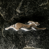 Hare brooch in pewter