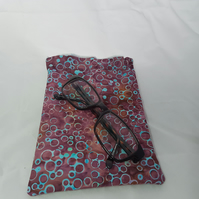 Reduced! Batik wine red and blue dot glasses case, mobile phone case, snap frame