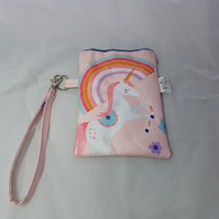 Reduced by 20% Unicorn pouch, glasses case, wrist strap, snap frame, recycled