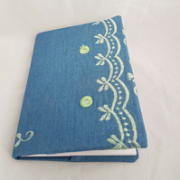 Fabric book cover blue, embroidered, notepad or journal A5