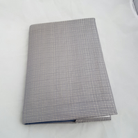 Shiny silver fabric book cover, A5, notepad or journal