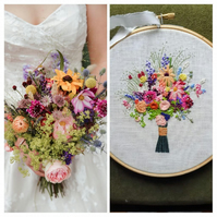 Custom Hand Embroidered Wedding Bouquet