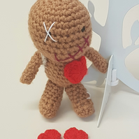 Vinny the Voodoo doll with rucksack & hearts