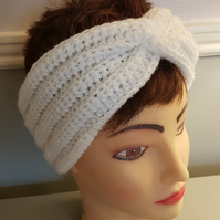 Hand crochet twisted white sparkly ear warmer hair band Size Large
