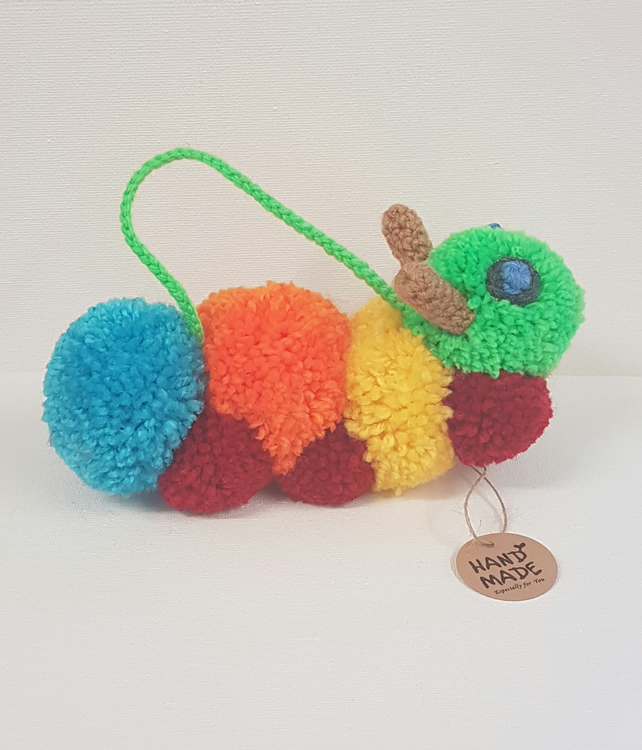 Muticolour Pom pom hanging caterpillar