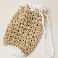 Gold sparkly drawstring pouch bag