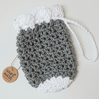 Silver sparkly drawstring pouch bag