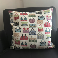 Cushion cover with feather pad in Luxury Hand Bag tapestry Fabric made in uk