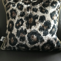 Cushion cover with Duck Feather Pad Luxury Leopard Truffle Crush Cushion.