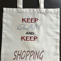 Organic Cotton tote bag with slogans on reusable, washable tote bag.