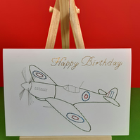 Happy Birthday Spitfire. Hand Embroidered Card.