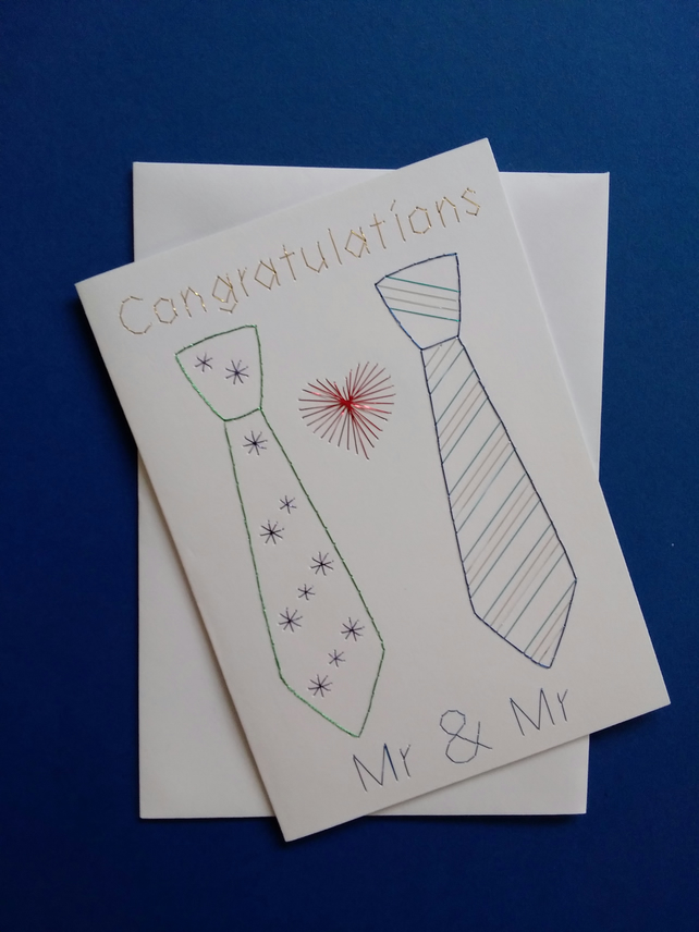 Mr & Mr Wedding - Civil Partnership Card Hand Embroidered.