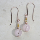 Pretty pink earrings, small, rose gold plated, Rose quartz gemstone, 24k accents