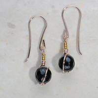 Wow black gemstone earrings, dainty, rose gold with 24k gold accents. Tourmaline
